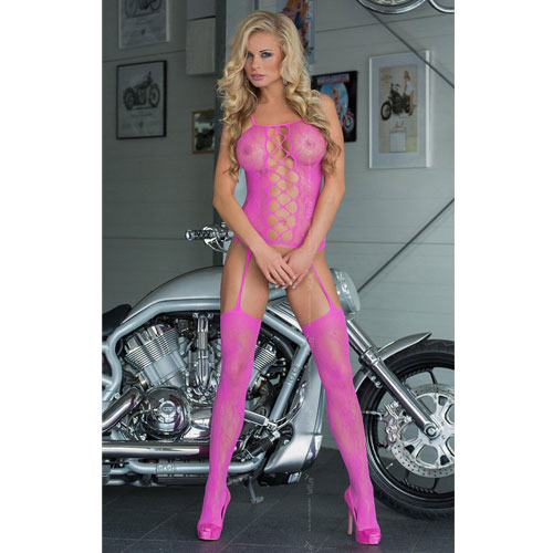 Catsuit-Floweret---Neon-Pink