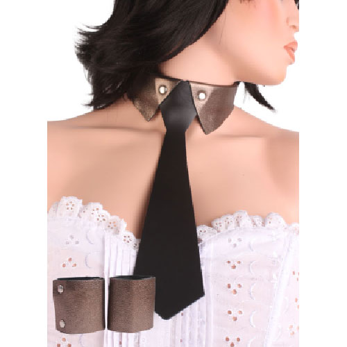 Set-Real-Leather-Necktie-Brass