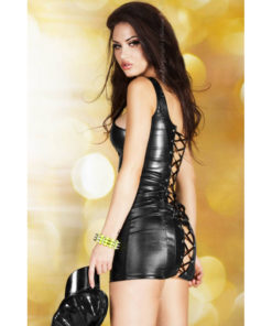 cr-3577-s-black-leatherlook-minidress- lenjerii sexy