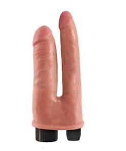Vibrator dublu King Cock Vibrating Double Penetrator original