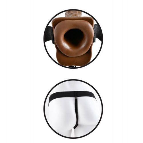 strap on cu testicule Vibrating Hollow Pipedream 7 INCH diametru