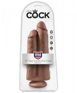 Dildo Dublu King Cock 9 INCH Two Cocks One Hole flesh ambalaj