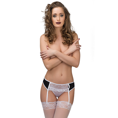 Garter Belt, Panties, Lace, Stretch Satin, White With Black Inserts