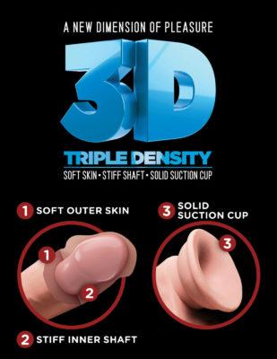 Dildo cu Ventuza King Cock Plus Triple Density 7.5 Inch