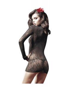 Rochie-Mini-Sheer-Suspenderhose-Baci-neagra